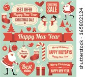 christmas and new year retro... | Shutterstock .eps vector #165802124