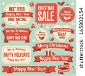 christmas and new year retro... | Shutterstock .eps vector #165802154