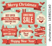 christmas and new year retro... | Shutterstock .eps vector #165802160