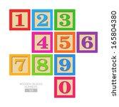 Wooden Blocks   Numbers. Vector.