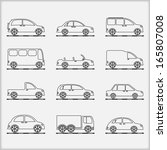 cars outline icons  vector... | Shutterstock .eps vector #165807008