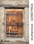 Closed Old Wooden Door Of...