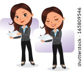 business woman with tablet.... | Shutterstock .eps vector #165809546