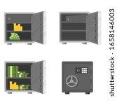 set of bank safes. closed metal ... | Shutterstock .eps vector #1658146003