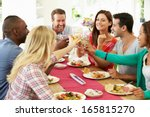 group of friends making toast... | Shutterstock . vector #165815270