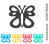 butterfly multi color icon set. ...