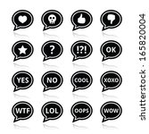 Speech bubble emotion icons - love, like, anger, wtf, lol, ok