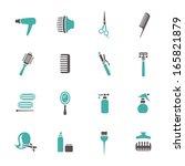 hairdressing equipment icons | Shutterstock .eps vector #165821879