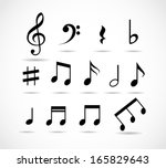 set of music notes vector | Shutterstock .eps vector #165829643