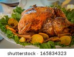 turkey with leaves and oranges... | Shutterstock . vector #165834323