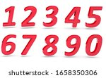 3d numbers 1234567890 on white... | Shutterstock . vector #1658350306