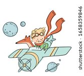 Cute Little Prince Is Flying A...
