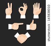 set of hands gestures... | Shutterstock . vector #165838010