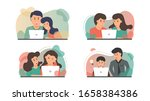 bundle people using laptop to... | Shutterstock .eps vector #1658384386