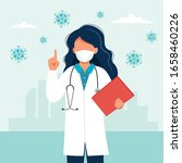 female doctor wearing a medical ... | Shutterstock .eps vector #1658460226