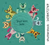 Set Of Cute And Funny Cats For...