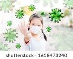 Small photo of Delta variant virus to children.asian kid girl wearing mask show stop hands coronavirus covid19 coronavirus, New normal, Reopen school, Healthcare.Student kid medical health.vaccine corona for child.