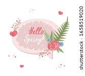 floral pink speech bubble hello ...   Shutterstock .eps vector #1658519020