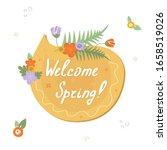 floral yellow speech bubble...   Shutterstock .eps vector #1658519026