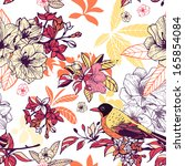 seamless floral pattern with... | Shutterstock . vector #165854084
