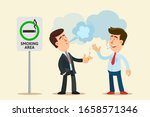 two men smoke a cigarettes in a ... | Shutterstock .eps vector #1658571346