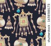 vector ethnic vintage jewelry... | Shutterstock .eps vector #1658588173