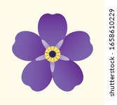 Violet violet flower on a white background. Symbol of the Armenian Genocide. Memorial Day April 24, 1915.