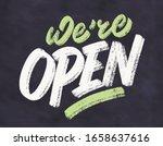 we're open. chalkboard vector... | Shutterstock .eps vector #1658637616