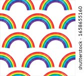 seamless pattern with rainbow...   Shutterstock .eps vector #1658655160