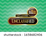 Gold shiny emblem with buildings icon and Unclassified text inside