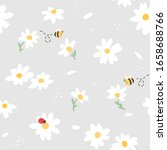 Seamless Pattern Of Flower  Bee ...
