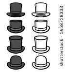 black top hat set. collection... | Shutterstock .eps vector #1658728333