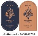set of two vector wine labels... | Shutterstock .eps vector #1658749783