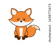 cute fox with outline vector... | Shutterstock .eps vector #1658772673