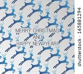 christmas card with deer | Shutterstock .eps vector #165881294