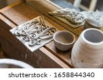 Dry Cut Pieces Of Ceramic On A...