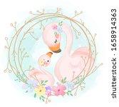 adorable flamingo motherhood... | Shutterstock .eps vector #1658914363