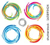 vector swirl and arrow icon set.... | Shutterstock .eps vector #165895424