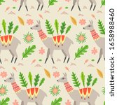seamless pattern with llama and ... | Shutterstock .eps vector #1658988460