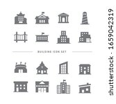 collection of building flat... | Shutterstock .eps vector #1659042319