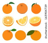 set of oranges. isolated on... | Shutterstock . vector #165904739