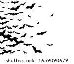 Evil Black Bats Swarm Isolated...