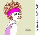 art sketched beautiful girl in... | Shutterstock .eps vector #165915449