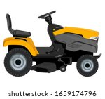Yellow lawn mower on a white background - stock vector