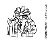 vector hand drawn gifts box...   Shutterstock .eps vector #165919268