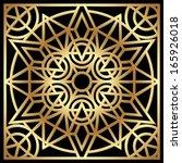 Golden geometric mosaic ornament on the black background. Vector illustration