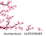watercolor floral sakura frame. ...   Shutterstock . vector #1659298489