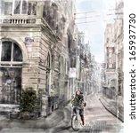 illustration of city street. ...   Shutterstock .eps vector #165937730