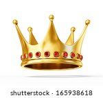 golden crown isolated on a... | Shutterstock . vector #165938618