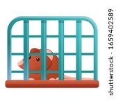 Rat Prison Gate Icon. Cartoon...